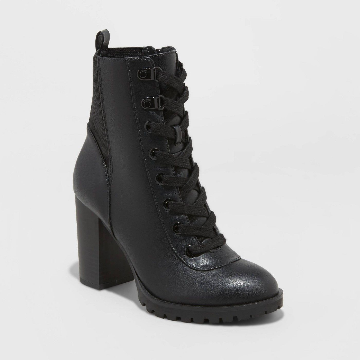 Women's Jada Faux Leather Heeled Lace Up Bootie A New