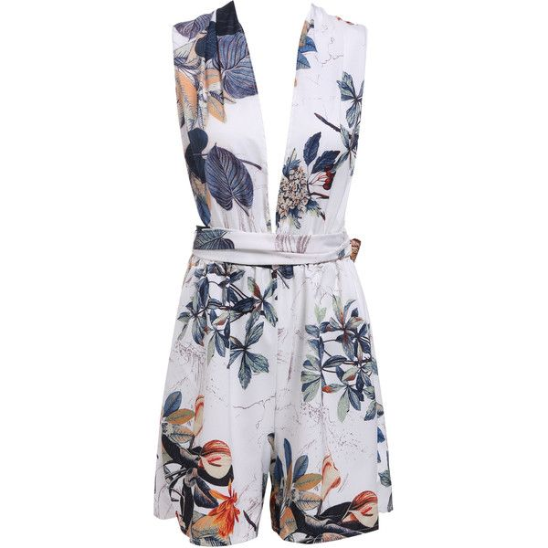 White Deep V Neck Backless Floral Jumpsuit (24 SGD) ❤ liked on Polyvore featuring jumpsuits, sheinside, floral print jumpsuit, white jump suit, jumpsuits & rompers, jump suit and deep v neck jumpsuit