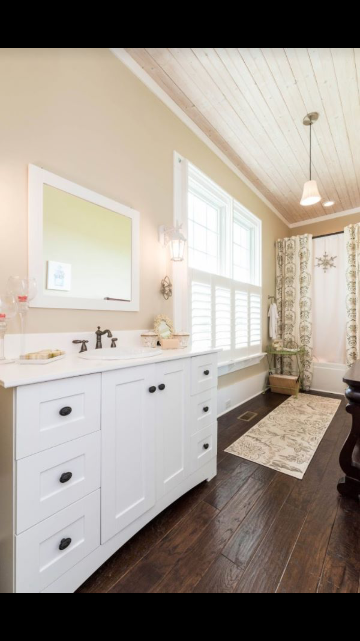 Love the dark wood floors with the white vanity!!! | White ...