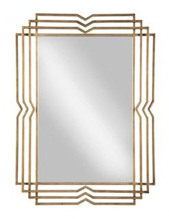 Tracey Contemporary Antique Gold Metal Glass Accent Mirror