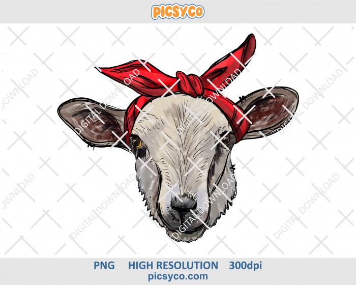 Sheep In Red Bandana Png Hand Drawn Digital Download File For Sublimation Print How To Draw Hands Sublimation Printing Red Bandana
