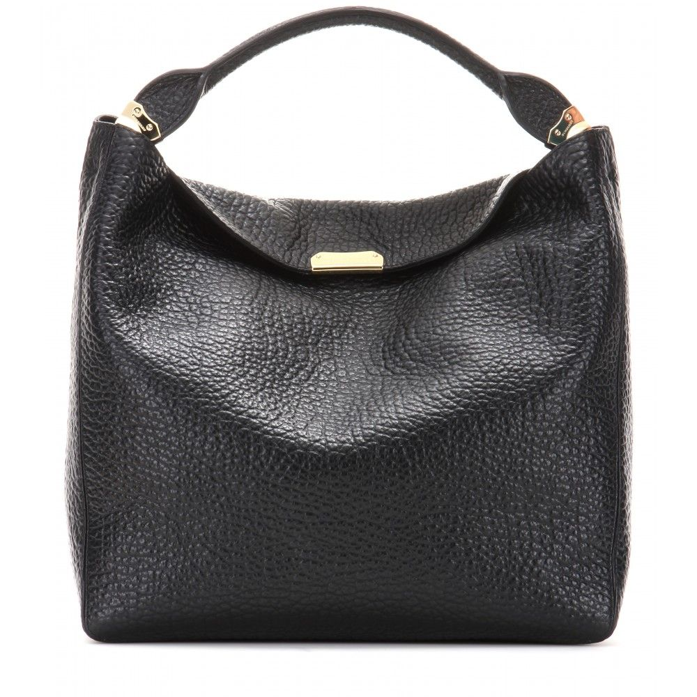 Burberry London Grainy Leather Slouch Envelope-Style Folded Top Lindburn Leather Tote in Black