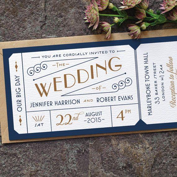 Formal Admission Ticket Wedding Invitation Art Deco Etsy Art Deco Wedding Invitations Ticket Wedding Invitations Wedding Invitations