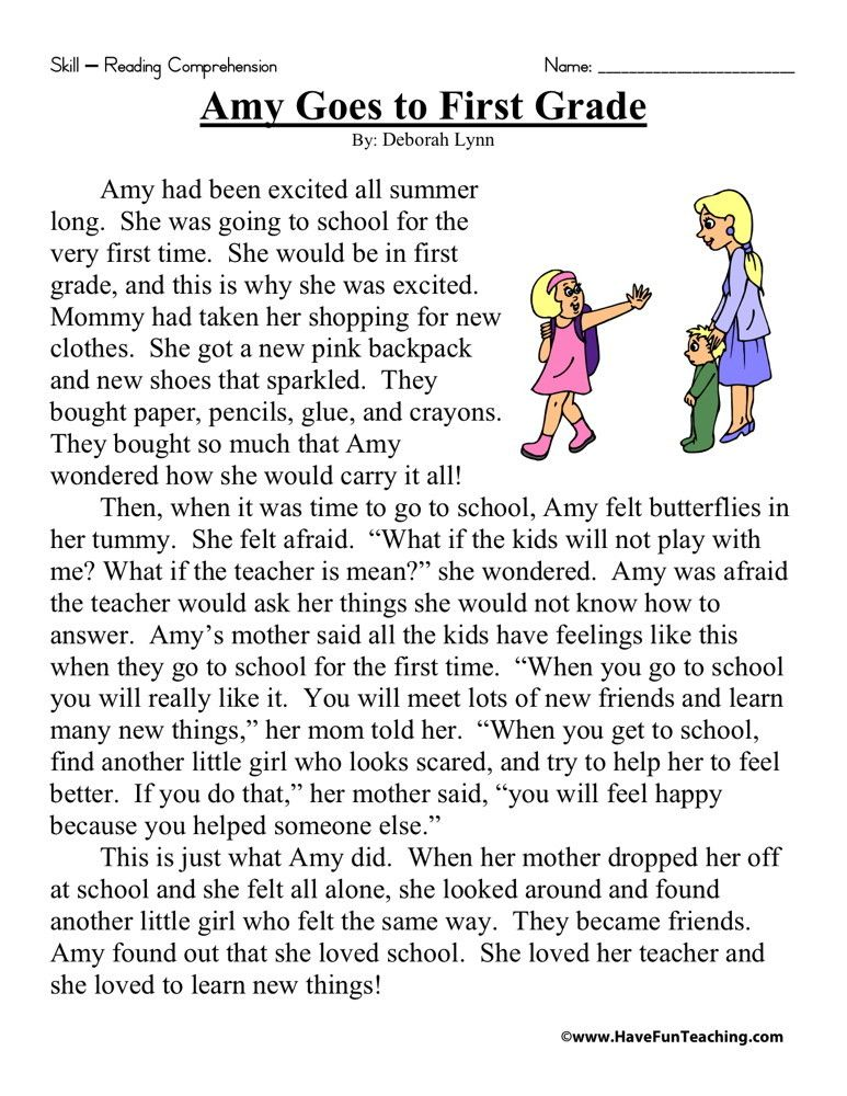 Reading Comprehension Worksheet Amy Goes To First Grade