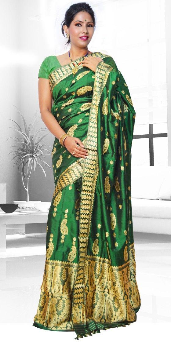 78b69b4e1e8228 Beautiful Green colour Assam silk pat Mekhla Chadar with artistic Suta work  giving a stylish look