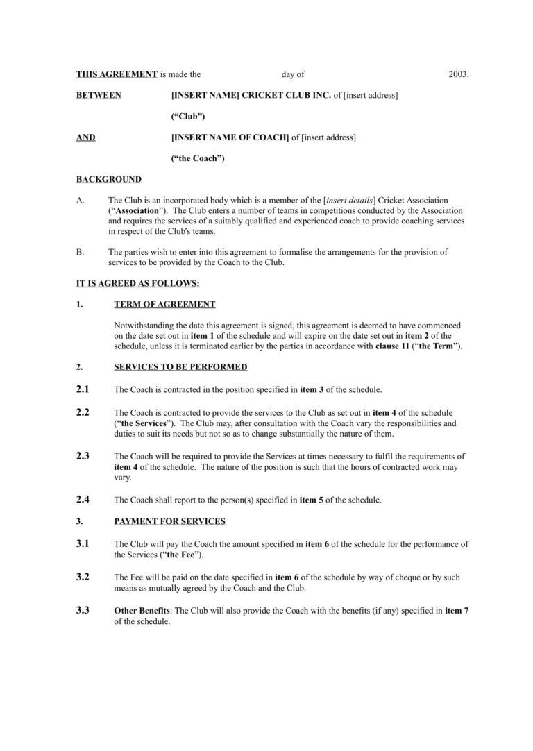 13 Sports Coach Contract Example Templates Docs Word With