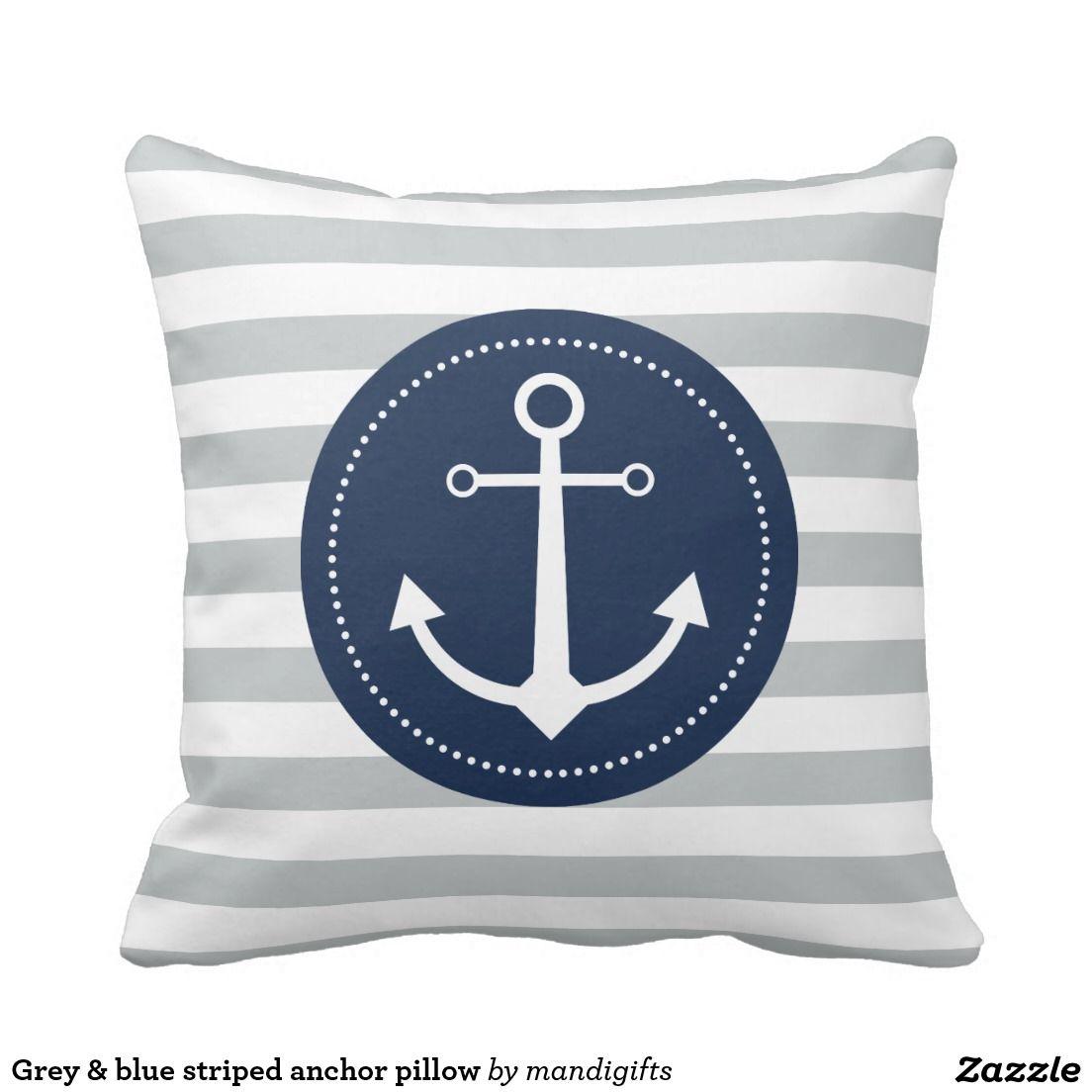 Grey & blue striped anchor pillow