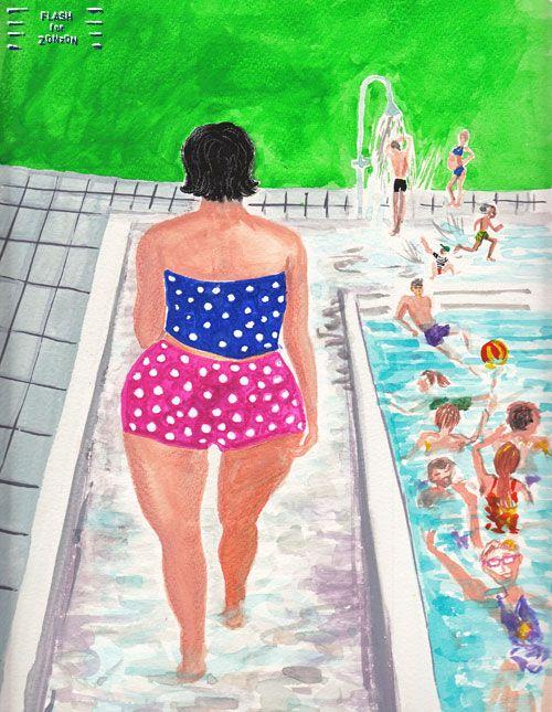 Polkadot Swimsuit, Kumpula Outdoor Pool, Helsinki. Illustration Flash For Zonzon.