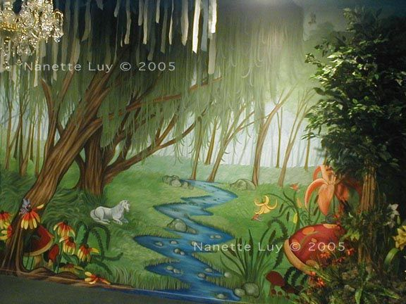 2005 commissioned painting of a magical forest for a newly for Fairy forest mural