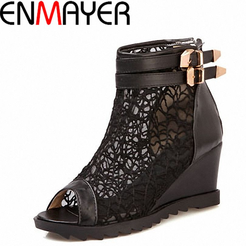 (Buy here: http://appdeal.ru/mtj ) ENMAYER New Fashion Women Naked Boots Wedges Pumps for Women Lace Summer Holiday Beach Casual Shoes Ankle Boots Size 34-43 for just US $52.43