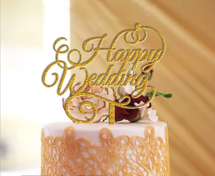 Free Shipping Happy Wedding Cake Topper Acrylic Cake Stand ...