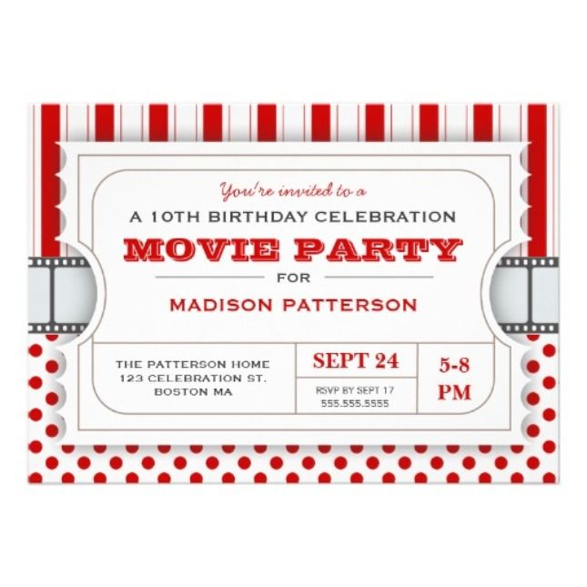 Movie Ticket Invitation Template Invitation Sample Pinterest - admit one ticket template