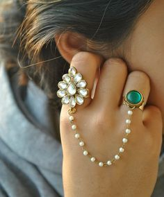 Kundan Two Finger Ring Pearl Chain Ring Adjustable