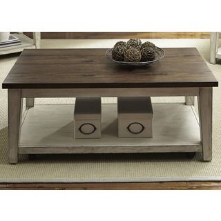 Liberty Lancaster Weathered Bark and White Castered Cocktail Table