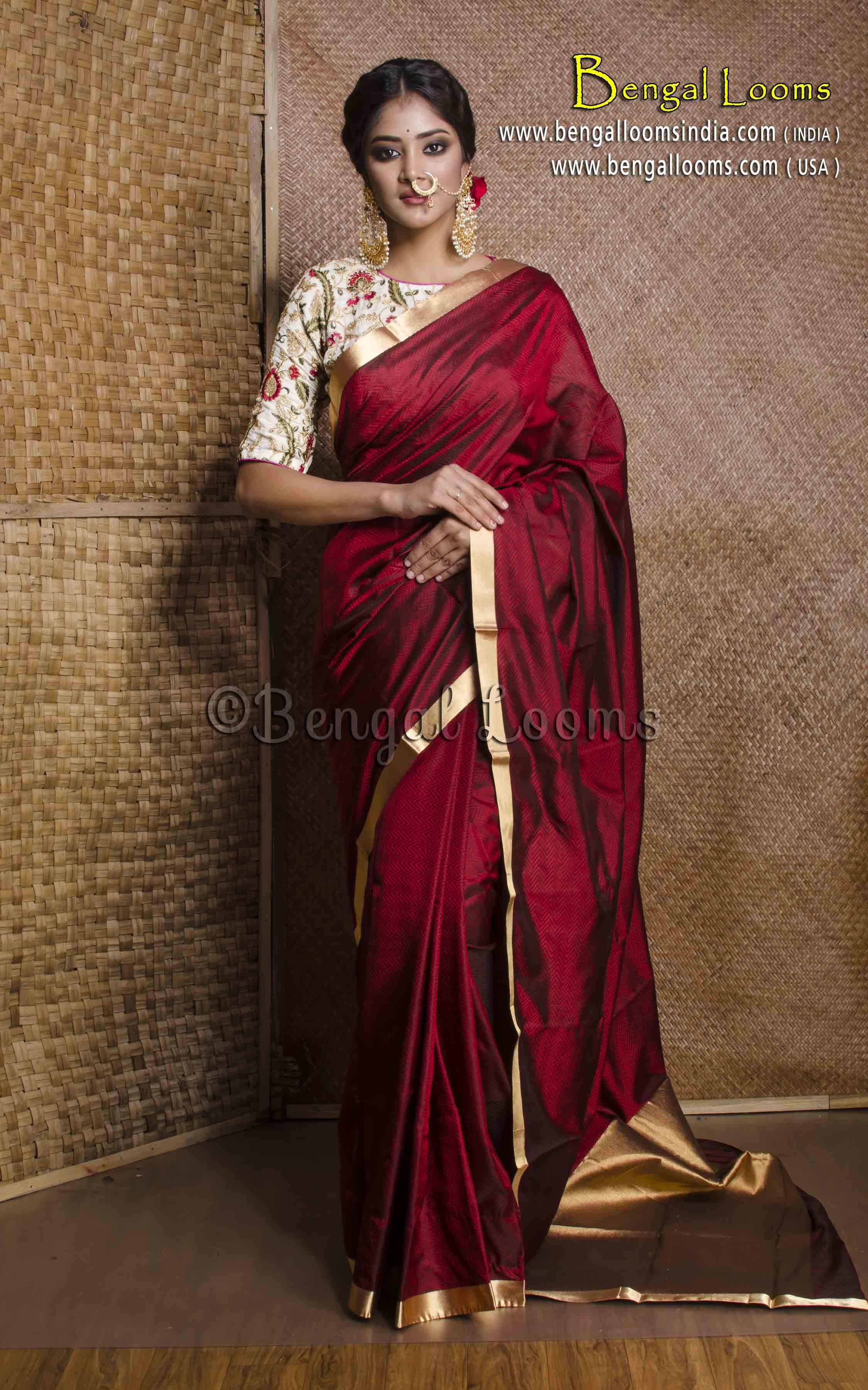 Maroon silk saree pure handloom kanchipuram silk saree in maroon and gold  blouse
