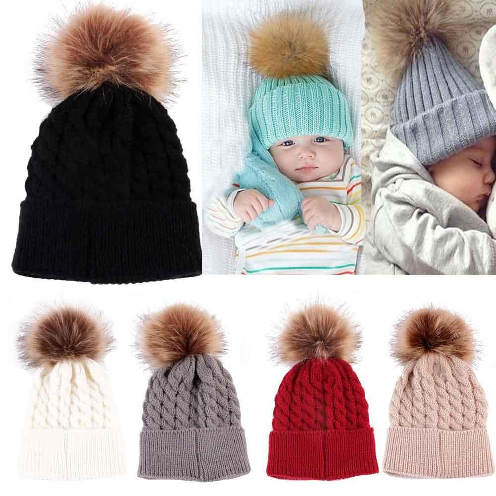 c808a959cd446 Newborn Cute Winter Baby Hat Fur Ball Pompom Cap Kids Girl Boy Winter  Knitted Wool Hats Caps for Girls Hemming Hat Beanies