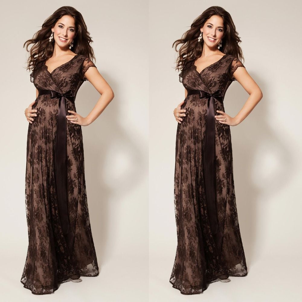 Short Sleeve Brown Lace Evening Dresses For Pregnant Women With Bow