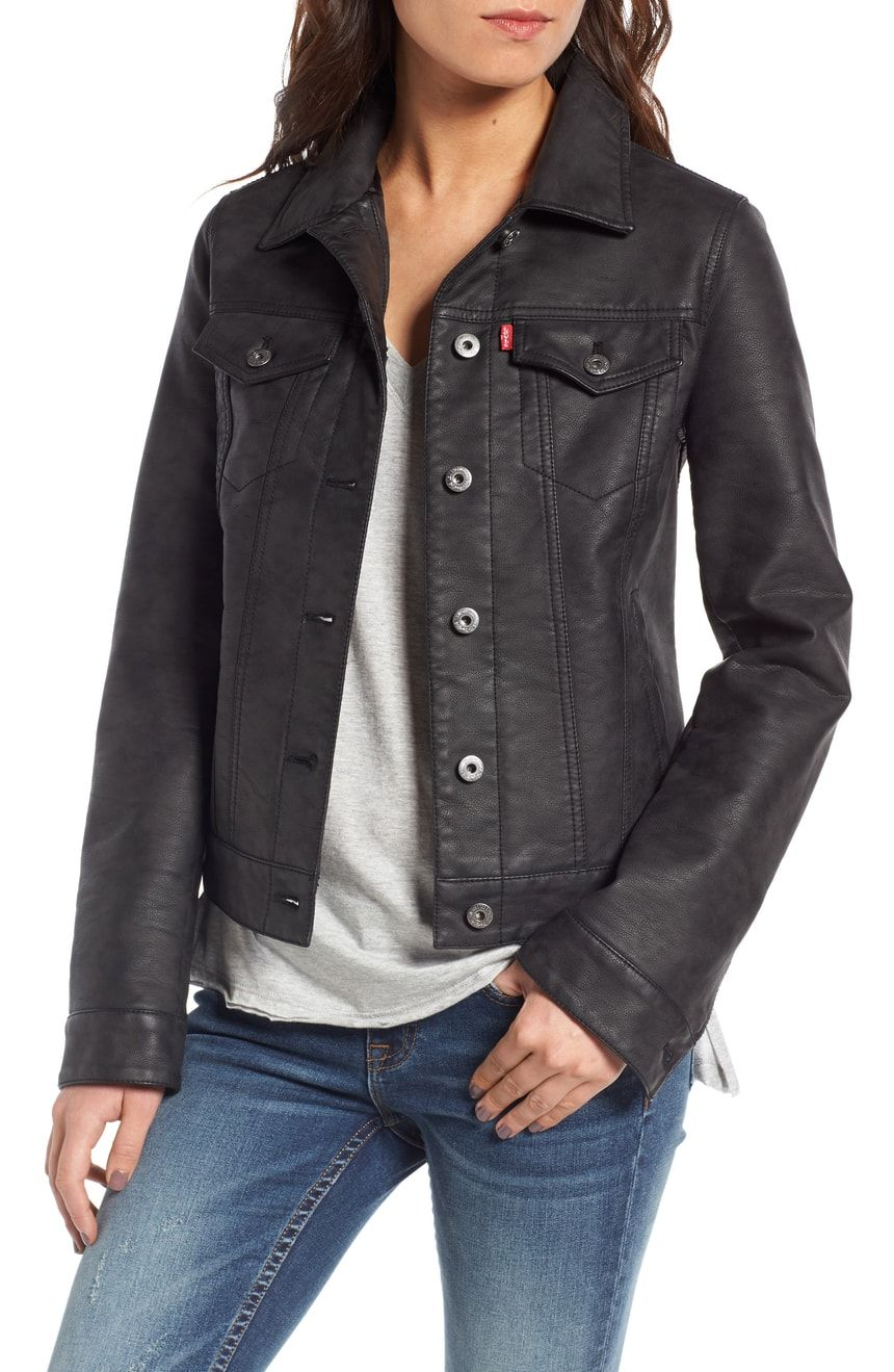 Levi's® Faux Leather Trucker Jacket Nordstrom Black