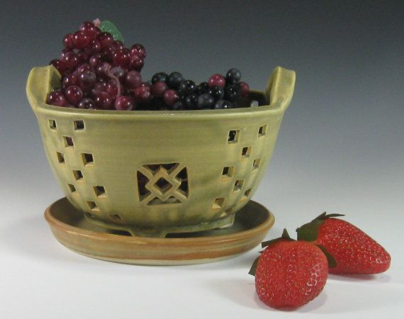 Berry Bowl - Colander with saucer - Hand Carved - Stoneware Pottery - Food Prep - Cooking - Kitchen - Geometric - olive Green