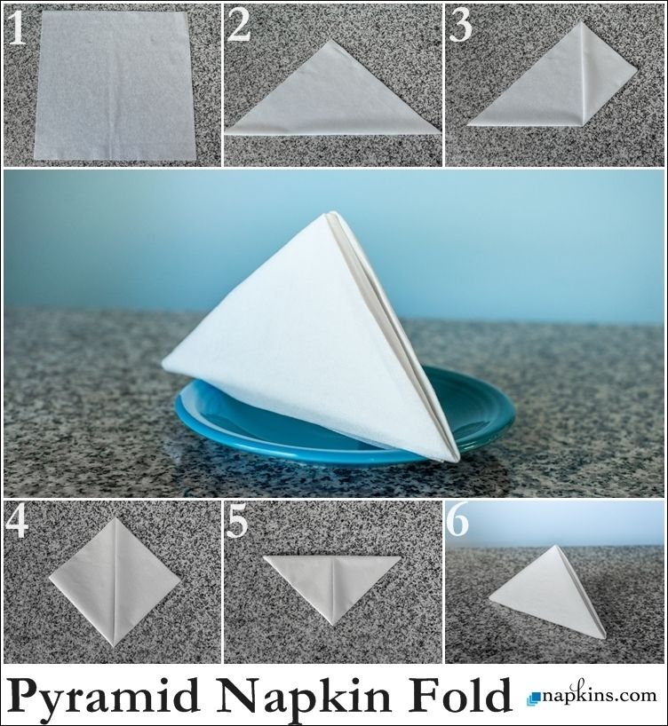 How To Make Table Napkin Designs napkin folding instructions for the pyramid napkin fold Find This Pin And More On How To Fold A Napkin