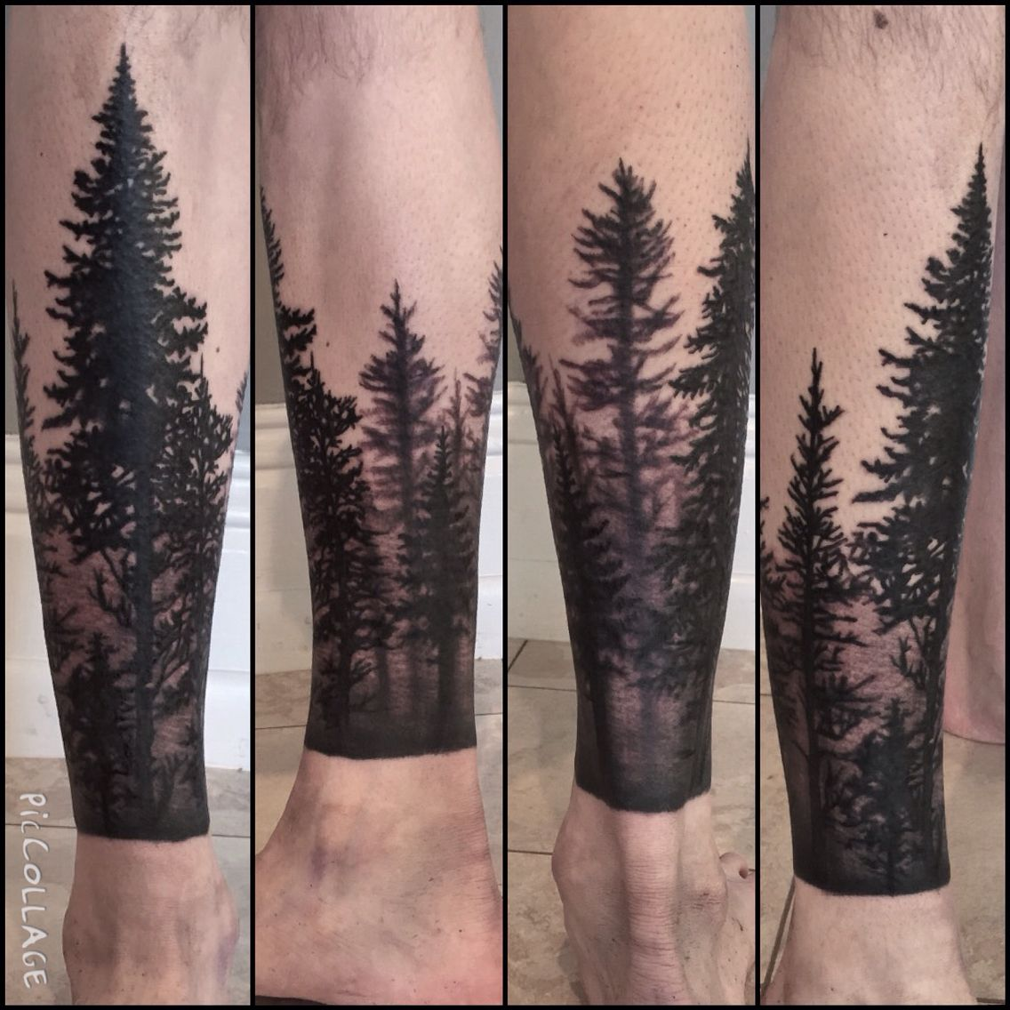 Trees! bodyart blacktattoos blackandgrey trees
