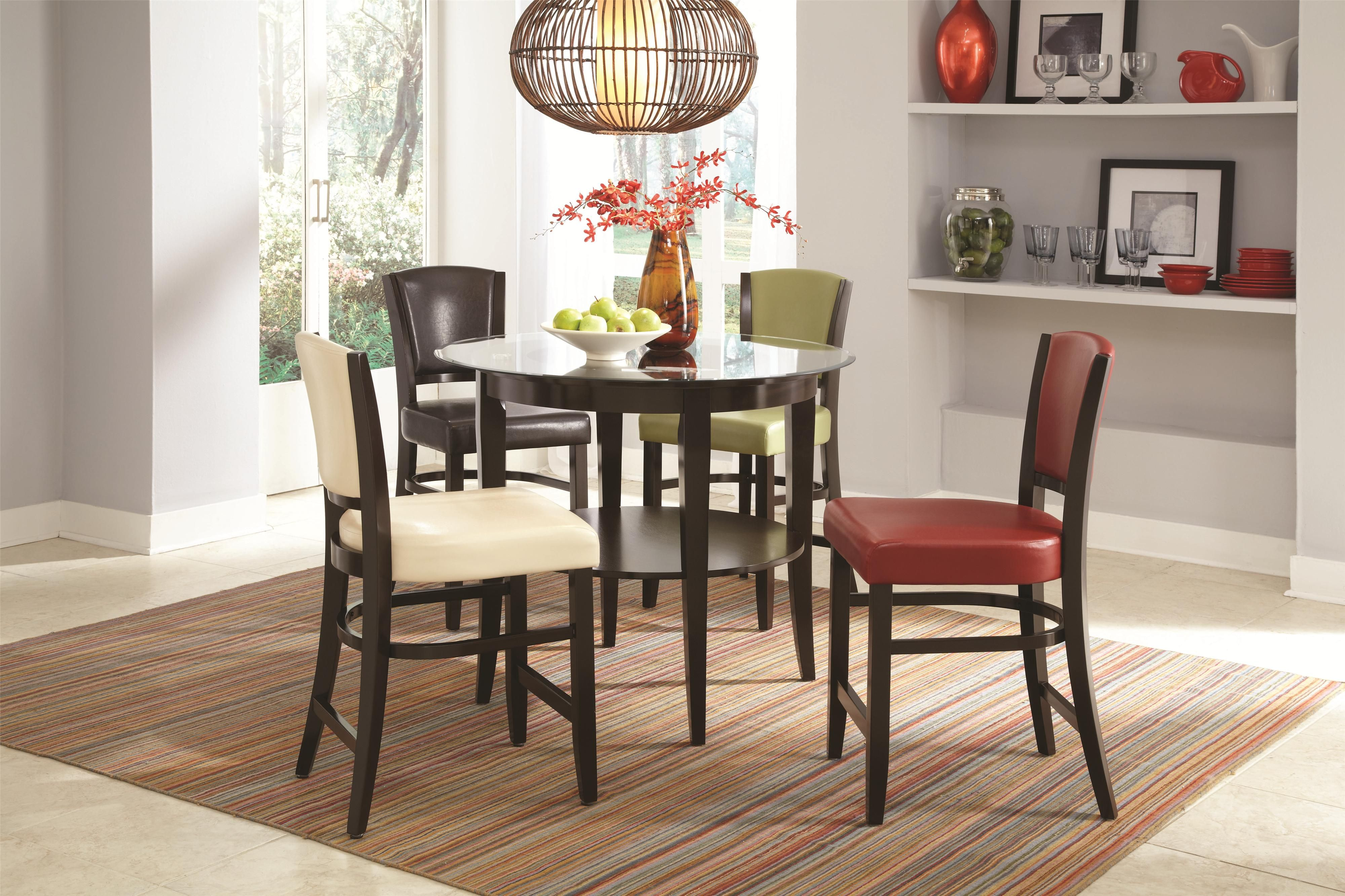 103688  Dining 1036 Round Glass Top Pub Table With Shelf  *buy Brilliant Round Dining Room Table For Sale Review