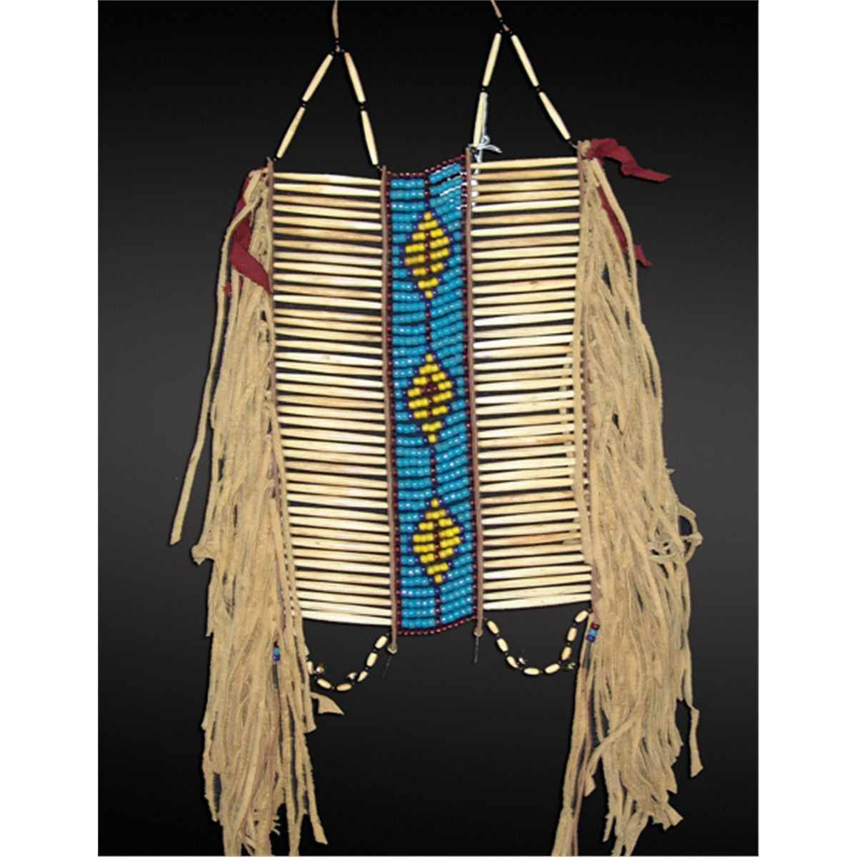 Cheyenne bone breastplate beaded pipe bags pinterest for Cheyenne tribe arts and crafts