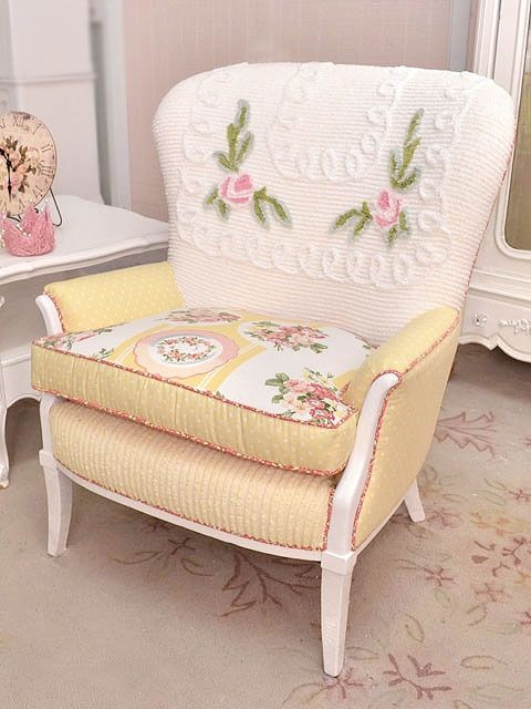 Vintage Chair Re Upholstered With Chenille Bedspread Fabric