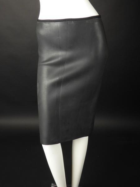 JEAN PAUL GAULTIER-Black Neoprene Dive Skirt, Size-8 #JeanPaulGaultier #StraightPencil