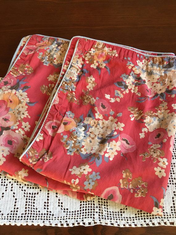Vintage Ralph Lauren 2 Pillow Shams Pillowcases Remix Bed Sheets Bedding  Retro Linens Fabric Floral