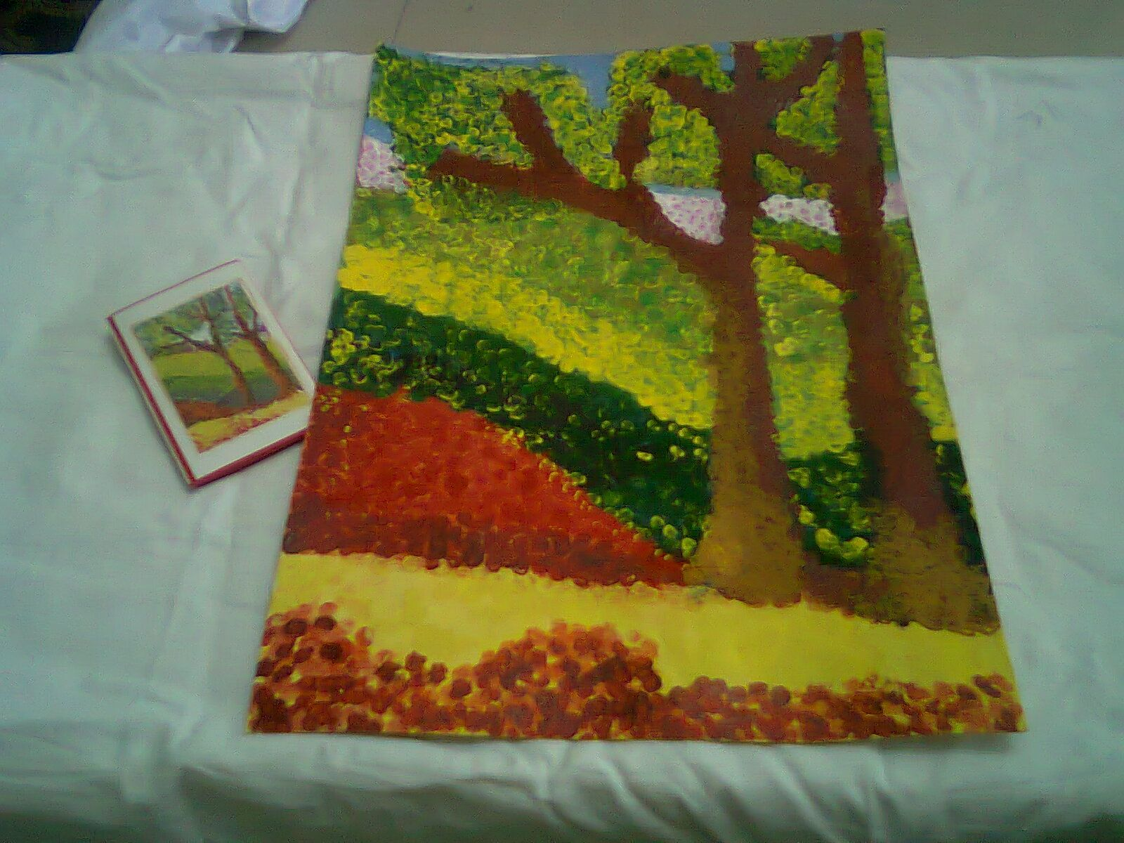 Made this painting....using cotton buds :)