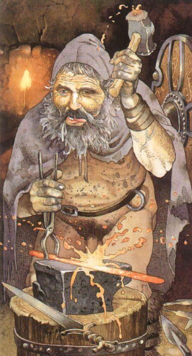 """GOIBNIU. Dios herrero de los Tuatha Dé Danann. Es el señor de los artesanos, forja las armas de los guerreros y preside un extraño festín de inmortalidad, en el que los dioses se regeneran comiéndose los """"cochinos mágicos"""" de Manannán mac Lir."""