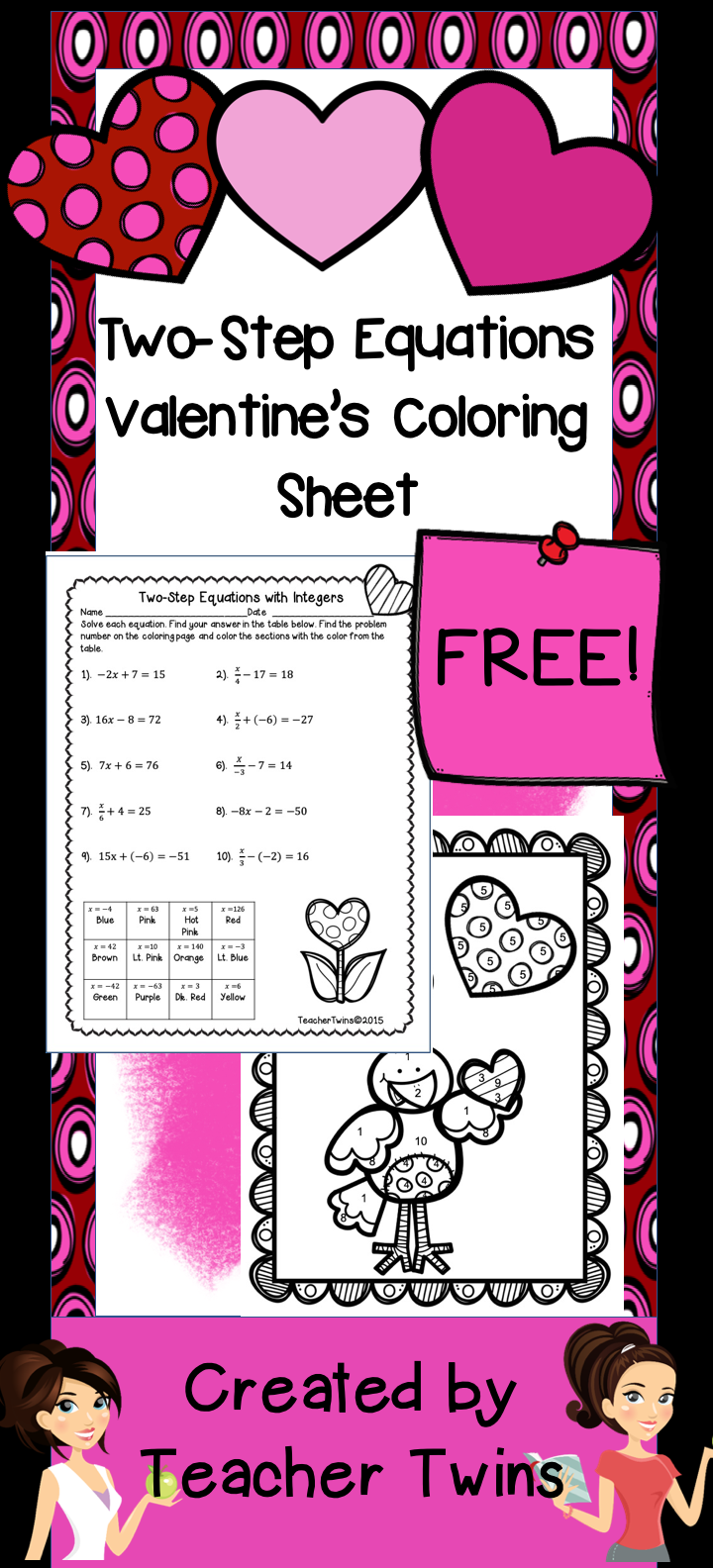Valentine Coloring Math Worksheet It Consists Of Two Step Equations With Integers Students Solve The Equation A Two Step Equations Color Worksheets Equations