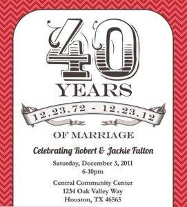 Red 40 Years Anniversary Invitation 50th Invitations40th Wedding
