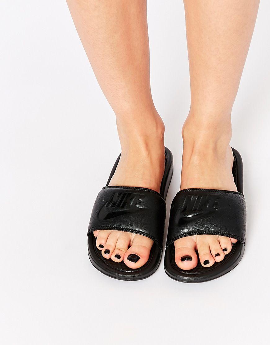 Buy Women Shoes / Nike Benassi Just Do It Black Slider Sandals