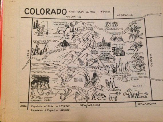 Colorado Map Art Rustic Map Coloring Book Page Vintage State