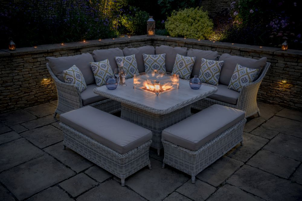 Ascot Square Casual Dining Table Set With Firepit Fire Pit Table Casual Dining Set Outdoor Dining Set