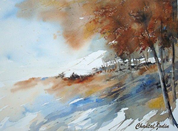 Paysages acuarela chantal jodin paisajes acuarela arte de acuarela et pintar acuarela - Paysage enneige dessin ...
