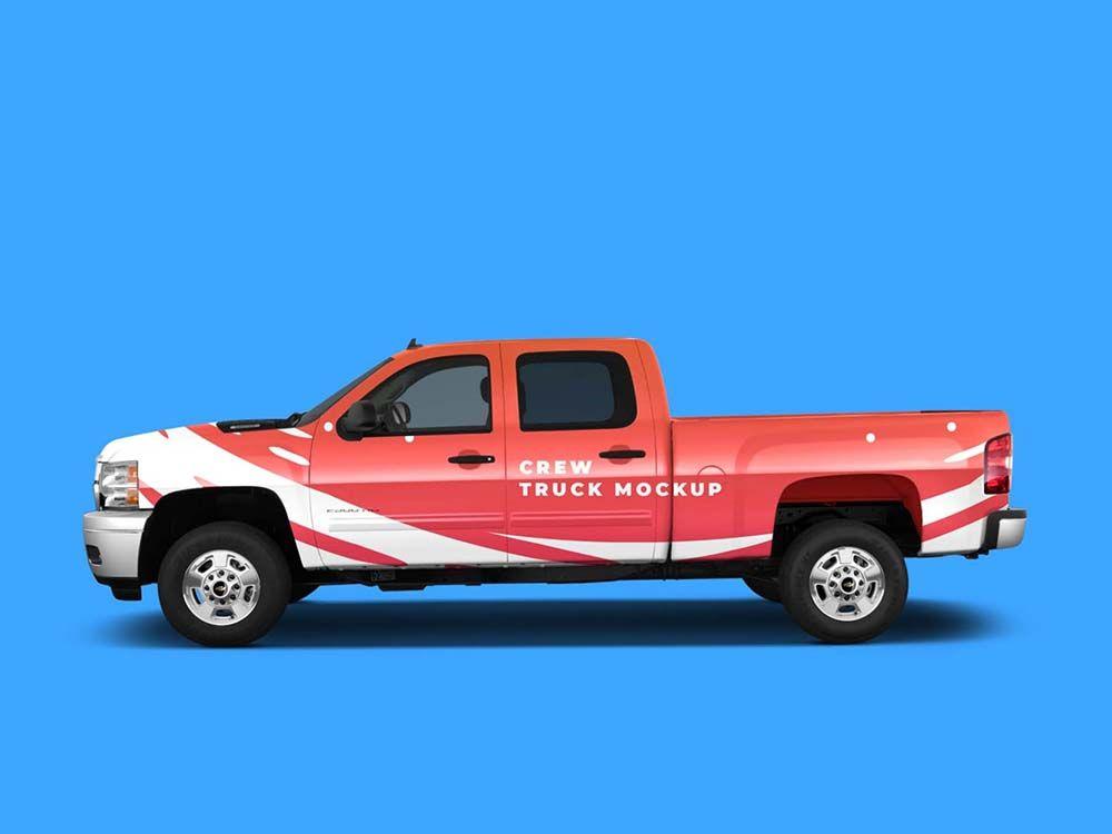 Crew Pickup Truck Mockup Free Download Mockup Free Mockup Pickup Trucks