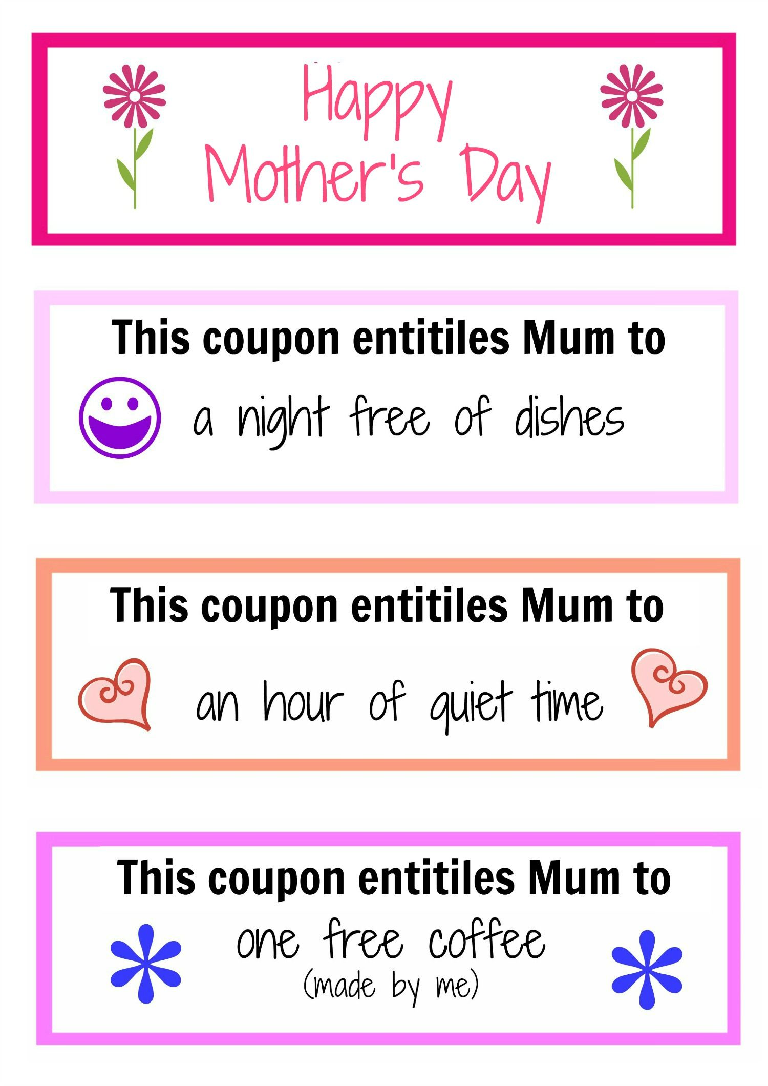 Mother S Day Coupon Booklet