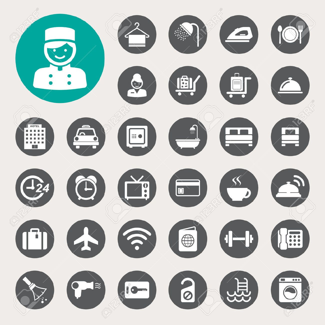 22717661 Hotel And Travel Icon Set Illustration Stock Vector Pictogram 1300x1300