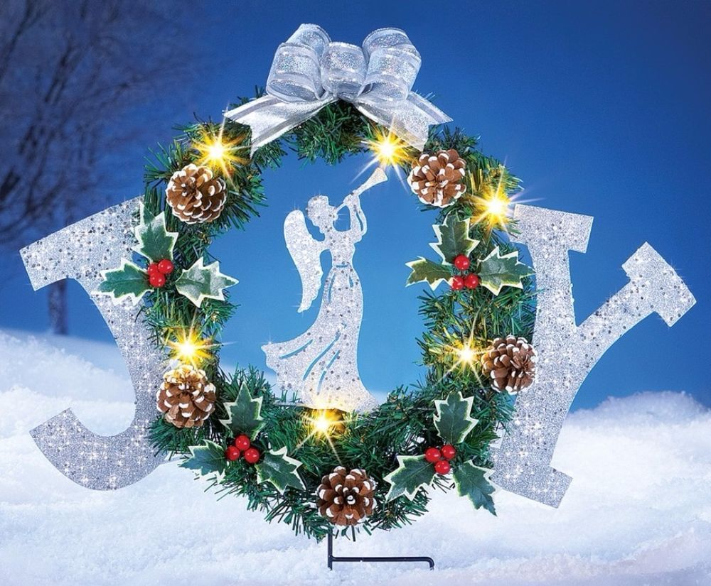 christmas yard stake decor glittered angel joy garden solar powered light wreath yardstakedecor glittered - Solar Powered Christmas Wreath