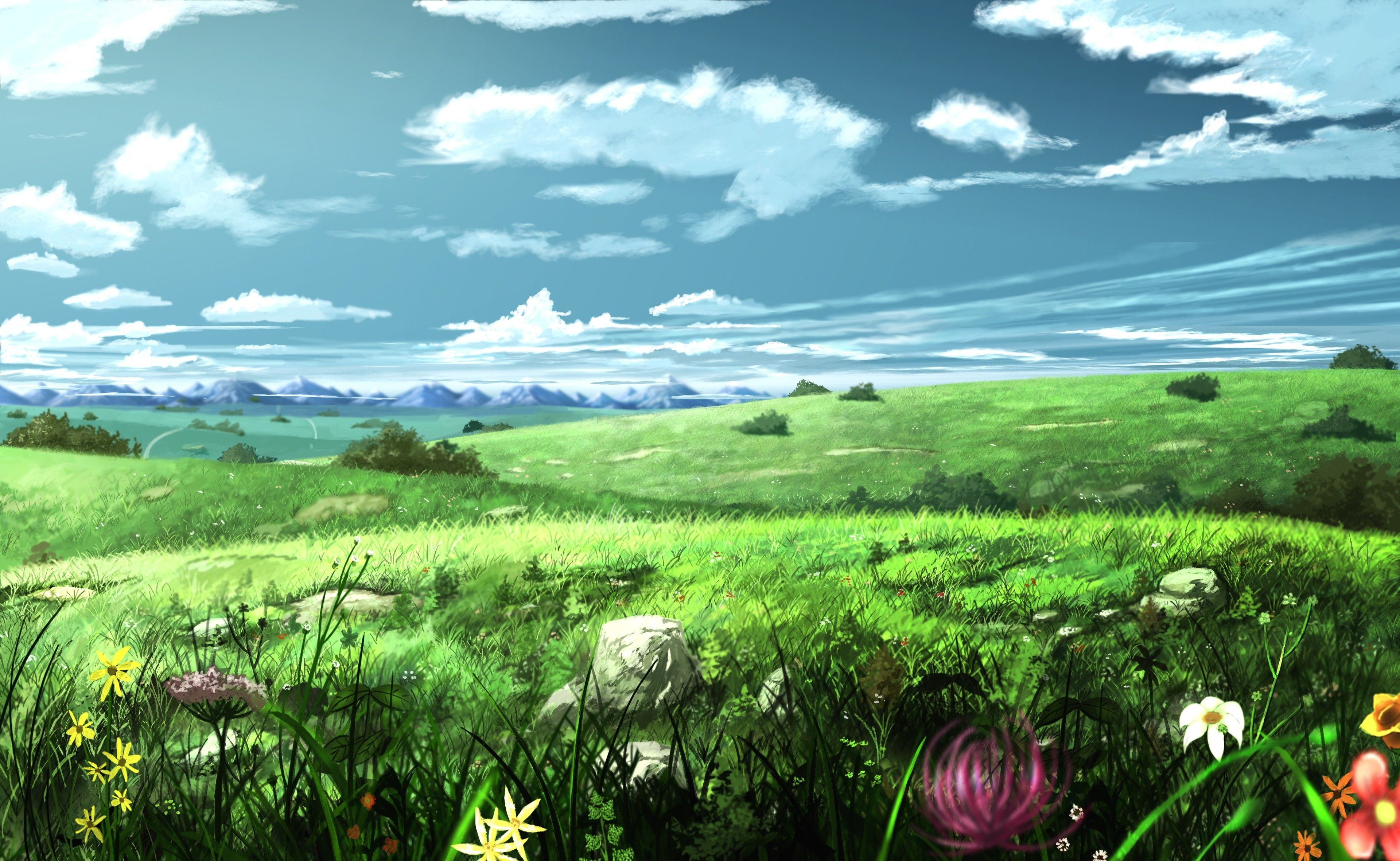 Image Result For Anime Field Background Landscape Wallpaper Anime Scenery Anime Scenery Wallpaper