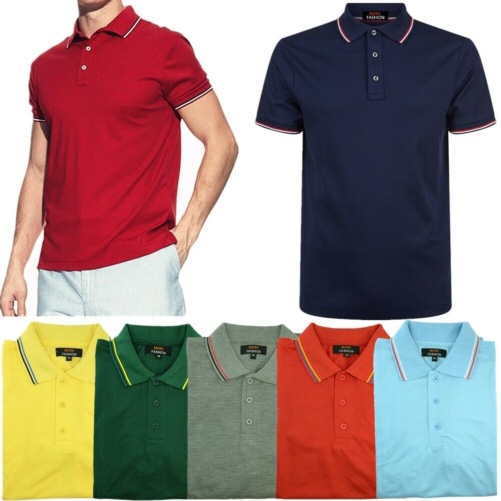 Mens Polo Shirts Striped Pique Short Sleeve Collared Casual Tee Top Sports New T
