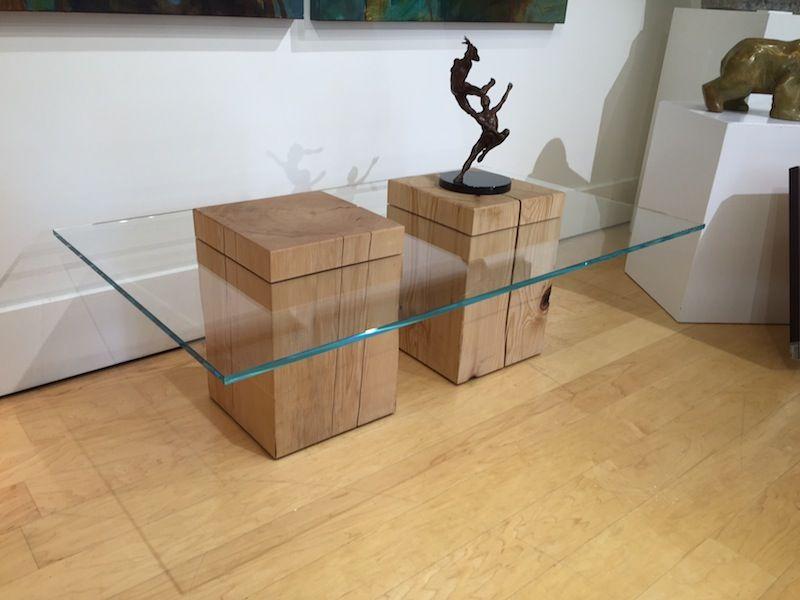 Illusion Coffee Table 17 x 28 x 48 Reclaimed Hemlock wood and