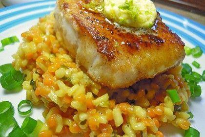 Fischfilet mit Limettenbutter und Linsen-Risotto von schaech001 | Chefkoch #fischrezepte