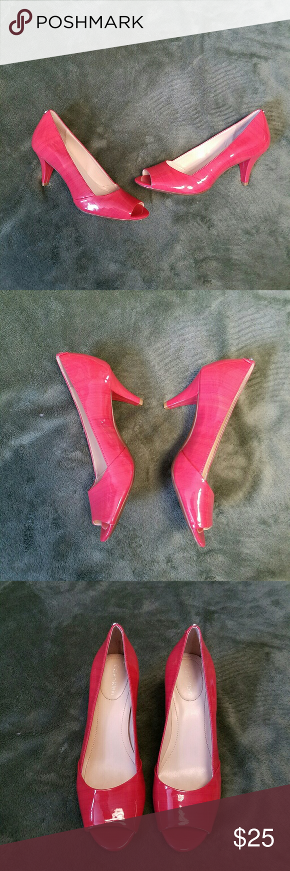 """Patent Parisa Coral Calvin Klein Peep Toe Heels 6M Lovely with minimal wear.  No rips, or deep scratches.  Some minimal rubs. Look almost new. Have 2 3/4"""" heels. Deep Coral color with a striped design. Calvin Klein silver stud on upper heel back.  STYLE is Parisa.  Sz 6M. (Prioritybox) Calvin Klein Shoes Heels"""