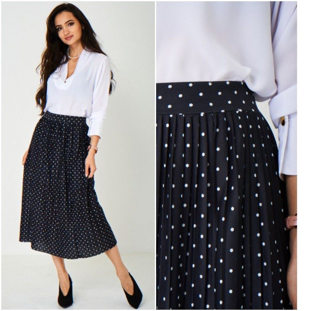 Black And White Polka Dot Midi Skirt Pleated 40s 50s Vintage Sizes Uk 8 10 12 14 Unbranded Pleated Form Polka Dot Midi Skirt Midi Skirt 1920 Flapper Dresses