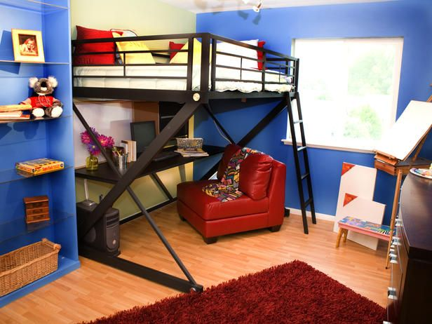 Stylish Kids Bunk Beds Full size bunk beds Red leather chair
