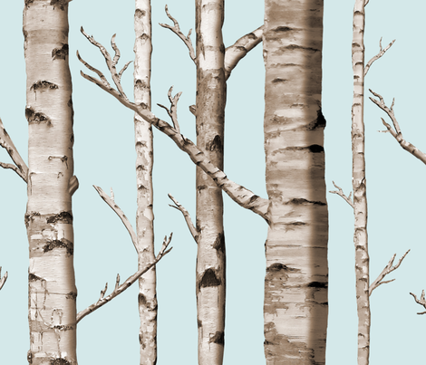 Colorful Fabrics Digitally Printed By Spoonflower Birch Grove In Sky White Birch Trees Tree Curtains Wallpaper